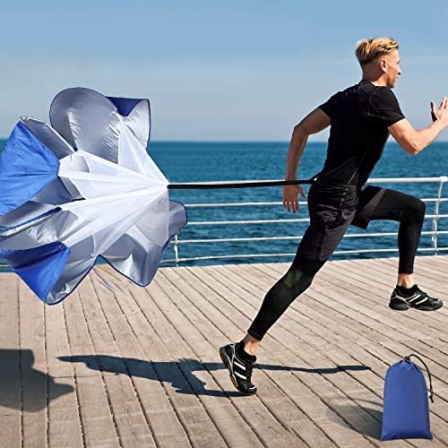 Running Speed Training, 56 Inch Speed Chute with Carry Bag, Resistance Running Parachute for Football SoccerTraining Kids Youth and Adults (Blue)