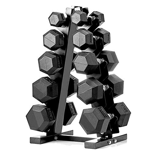 papababe 150lb Dumbbell Set with A-Frame Dumbbell Rack Rubber Encased Hex Dumbbell Free Weights Dumbbells Set Home Weight Set (A Pair of 5 10 15 20 25 LB Dumbbell with Dumbbell Rack)
