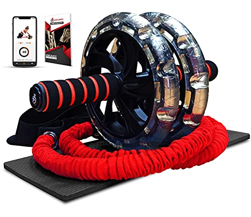 INTENT SPORTS Multi Functional Ab Wheel Roller KIT with Resistance Bands, Kneepad, Workout Ebook. Abdominal Workout Wheel Roller with Large Wheels for Stability. Ab Core Workout, Exercise Videos.