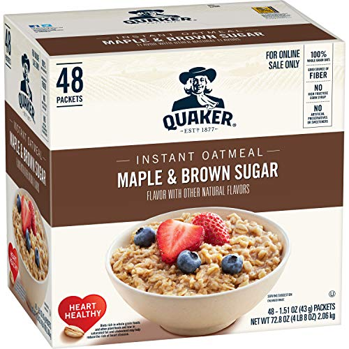 Quaker Instant Oatmeal, Maple & Brown Sugar, Individual Packets, 48 Count