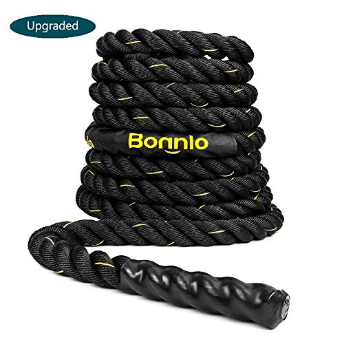 Bonnlo Exercise Rope 1.5'/ 2' Width Poly Dacron 30/40/50ft Length, Battle Rope Workout Training Undulation Rope Fitness Rope Climbing Rope (1.5'x30Ft Length)