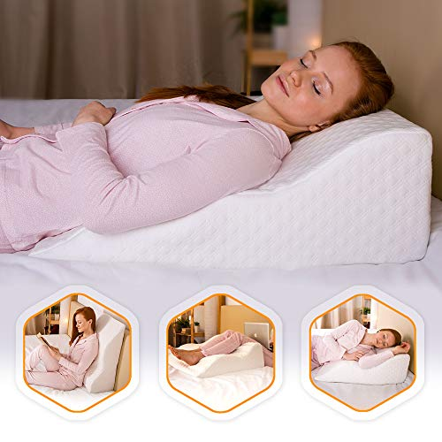 Aeris Bed Wedge Pillow - %100 Memory Foam - Unique Curved Design - Machine Washable Bamboo Cover