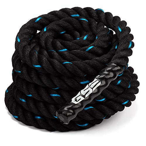 GSE Games & Sports Expert 30ft/40ft/50ft Exercise Training Battle Ropes with Anchor Kit (1.5'/2' Diameter) (Blue & Black, 1.5' x 30')