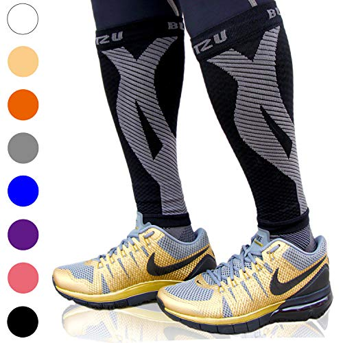 BLITZU Calf Compression Sleeves For Women & Men Leg Compression Socks for Runners, Shin Splint, Recovery from Injury & Pain Relief Great for Running, Maternity, Travel, Nurses BLACK L-XL
