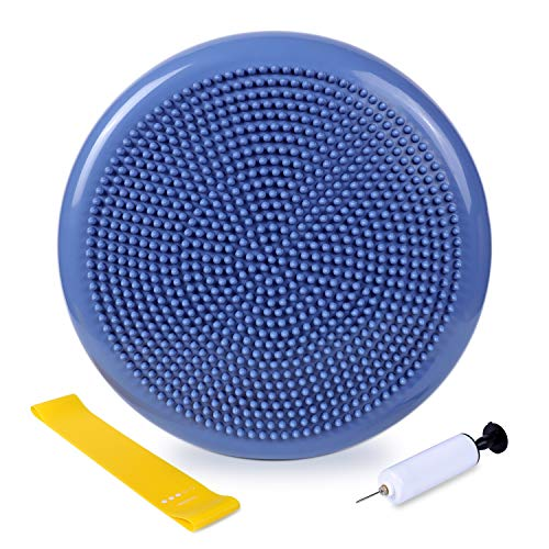 Wobble Cushion - Balance Disc for Workout in Home & Gym - Wiggle Seat for Children - Back Support and Pain Relief for Office Staff. (with Resistance Band and Pump)