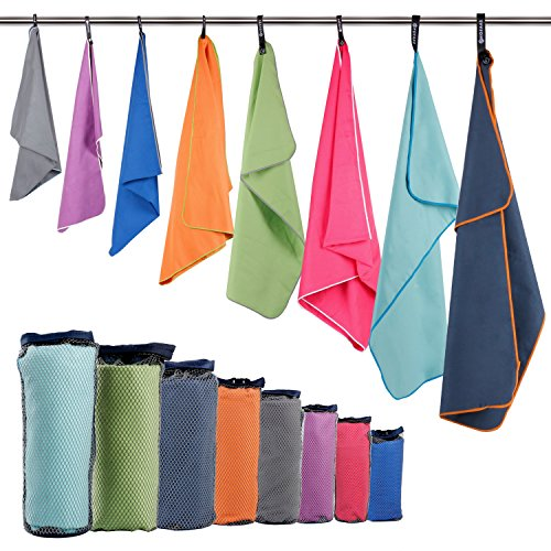 """HOEAAS 2 Pack Microfiber Travel & Sports & Beach Towel-S (32""""x16""""x2)-Lightweight, Compact, Super Absorbent, Fast Dry for Outdoor, Yoga, Camping, Gym+ Buckled Carry Bag(S, Orange)"""