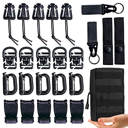 MWZTECH Kit of 25 Attachments for Molle Backpack, Tactical Molle Dominators Webbing Accessories kit,D-Ring Grimloc Locking Gear Clip,Web Dominator Elastic Strings (Packaged in A Molle Pouch)