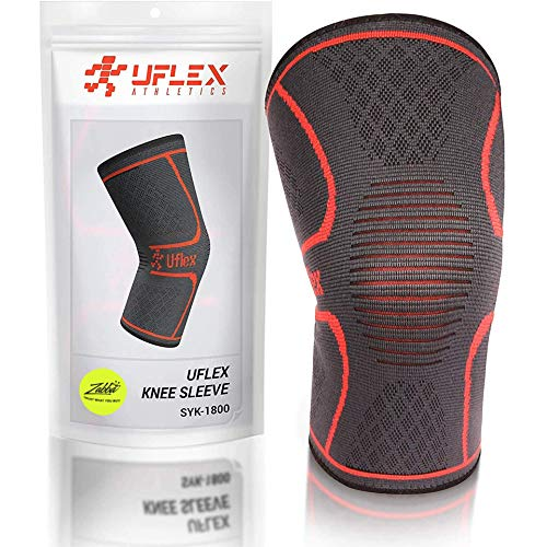 UFlex Athletics Knee Compression Sleeve Support for Running, Jogging, Sports - Brace for Joint Pain Relief, Arthritis and Injury Recovery - Single Wrap Size Large