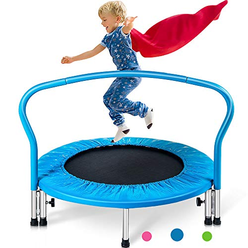Merax 36' Mini Trampoline for Kids Exercise Rebounder Portable Trampoline with Handrail and Padded Cover (Blue)
