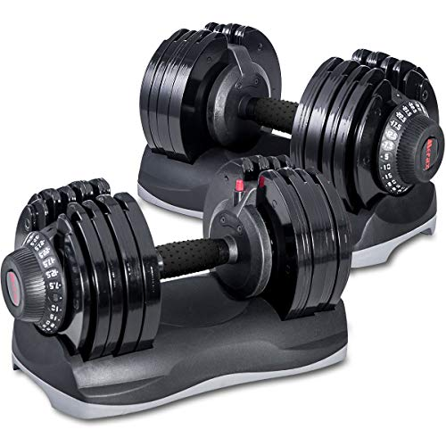 Merax Deluxe 71.5 Pounds Adjustable Dial Dumbbell with Weight Plate for Home Gym 2 PCS (2 x 71.5 LBS)