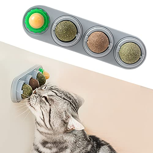 Potaroma 4 Pack Catnip Wall Toys, Detachable Silvervine Balls, Edible Kitty Toys for Cats Lick, Safe Healthy Kitten Chew Toys, Teeth Cleaning Dental Cat Ball Toy, Cat Wall Treats