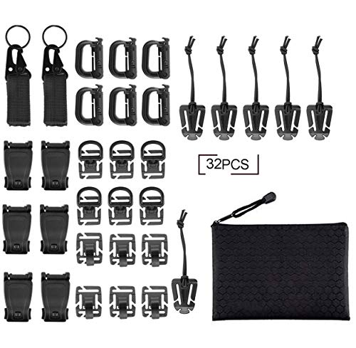 Fashionclubs 32pcs Tactical Molle Attachments Tactical Gear Clip Straps Set Molle Webbing Attachments for Tactical Backpack, 5 Styles with Zippered Pouch