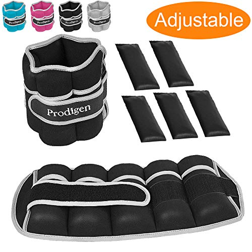 Prodigen Adjustable Ankle Weights Set for Men & Women Ankle Wrist Weight for Walking, Jogging, Gymnastics (Black, 3.5lbs Each)