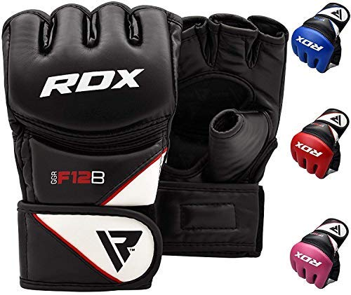 RDX Maya Hide Leather Grappling MMA Gloves UFC Cage Fighting Sparring Glove Training F12, Large, Black