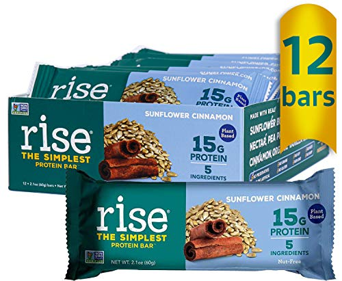 Rise Pea Protein Bar, Sunflower Cinnamon, Soy Free, Paleo Breakfast & Snack Bar, 15g Protein, 5 Natural Whole Food Ingredients, Simplest Non-GMO, Vegan, Gluten Free, Plant Based Protein, 12 Pack