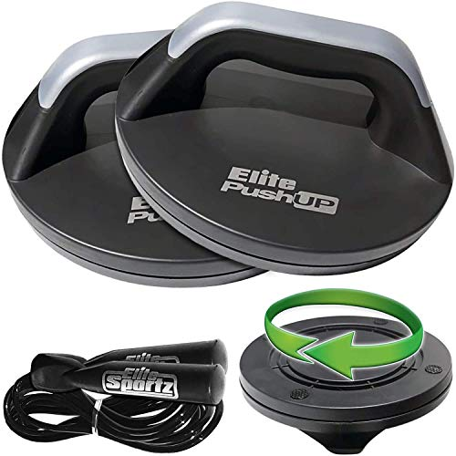 Elite Sportz Push Up Bars - The Smooth Rotation Makes a Pushup on The Hands, Meaning You Will Feel Less Wrist Pain Than When Doing Normal Pushups. Very Sturdy and Won't Slide Around