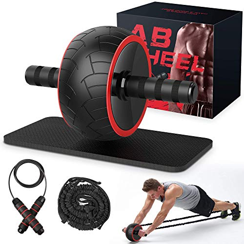 Ab Roller Wheel , Ab Wheel Exercise Equipment for Home Gym, Ab Roller for Abs Workout, Ab Machine with Knee Pad, Resistance Bands, Jump-ropes, Perfect Fitness Equipment for Men Women Abdominal Exercise