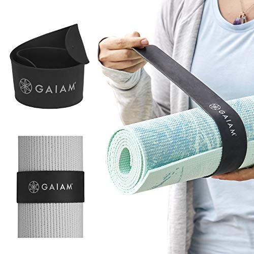 Gaiam Yoga Mat Strap Slap Band - Keeps Your Mat Tightly Rolled and Secure, Fits Most Size Mats (20' L x 1.5' W), Black