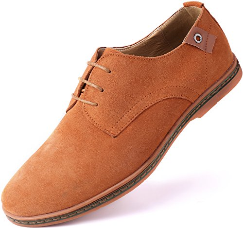 Marino Suede Oxford Dress Shoes for Men - Business Casual Shoes (Light Brown, 8)