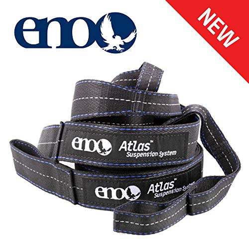 ENO, Eagles Nest Outfitters Atlas Hammock Straps, Suspension System with Storage Bag, 400 LB Capacity, 9' x 1.5/.75', Black/Royal