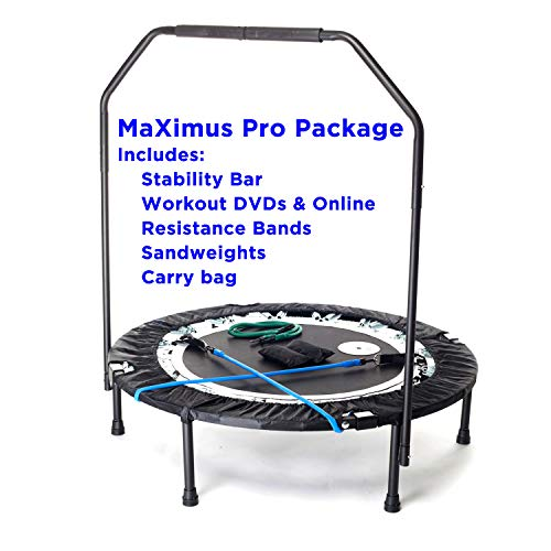 MaXimus PRO Folding Rebounder USA | Voted #1 Indoor Exercise Mini Trampoline For Adults With Bar | Best Home Gym for Fitness & Lose Weight| FREE Storage Bag, Resistance Bands, ONLINE & DVD Workouts | Already Assembled