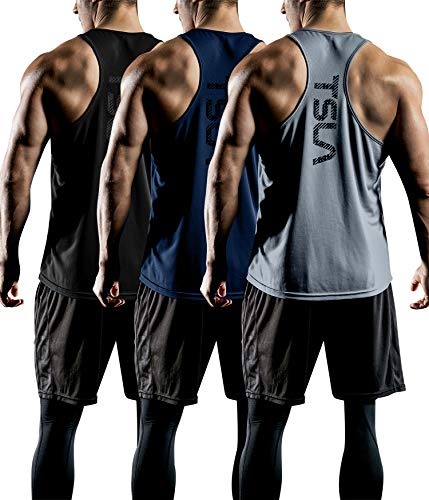 TSLA Men's 3 Pack Workout Muscle Tank Sleeveless Racer Y-Back Gym Training Cool Dry Top MTN33, Black/Grey/Navy, X-Large