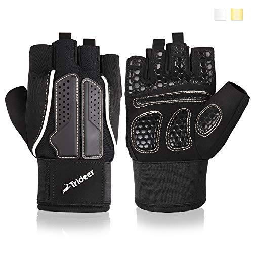Trideer Padded Weight Lifting Gloves, Gym Gloves, Workout Gloves, Rowing Gloves, Exercise Gloves for Powerlifting, Fitness, Cross Training for Men & Women (A# Golden Basic, M (Fits 7.5-7.9 Inches))