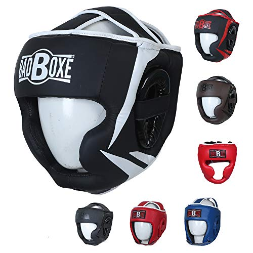 Twister Competition Boxing Head Guard Artificial Leather Muay Thai MMA Sparring Head Protection Headgear (Black/White, L/XL)