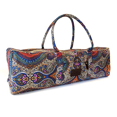 Kindfolk Yoga Mat Duffel Bag Patterned Canvas with Pocket and Zipper (Celestial)