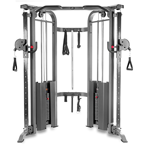 XMark Functional Trainer Cable Machine with Dual 200 lb Weight Stacks, 19 Adjustments, and Accessory Package XM-7626 (Gray)