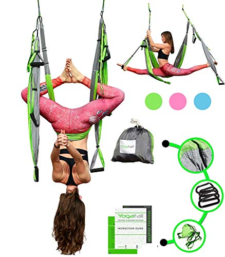 Aerial Trapeze Yoga Swing - [UPDATED VERSION] Pro Gym Strength Aerial Yoga Hammock - Inversion Trapeze Sling Exercise Equipment with Two Extender Hanging Straps - Blue Swings & Beginner Instructions