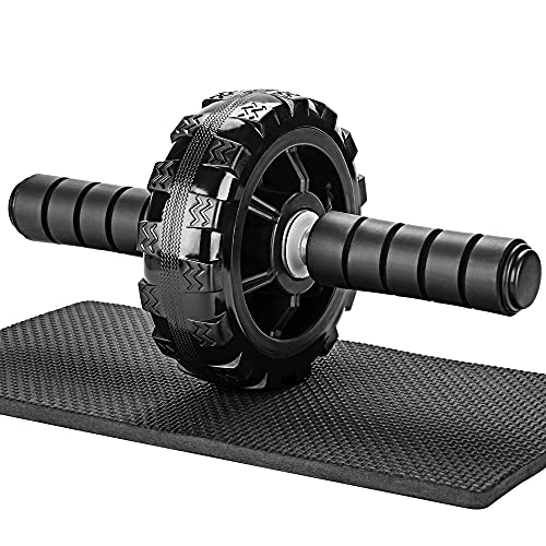 PACEARTH Solid Ab Roller Wheel for Abs Workouts, No Noise Ab Wheel Exercise Equipment with Knee Pad, Ab Wheel Roller for Home Gym Core Workout - Abdominal Exercise Trainer for Men Women
