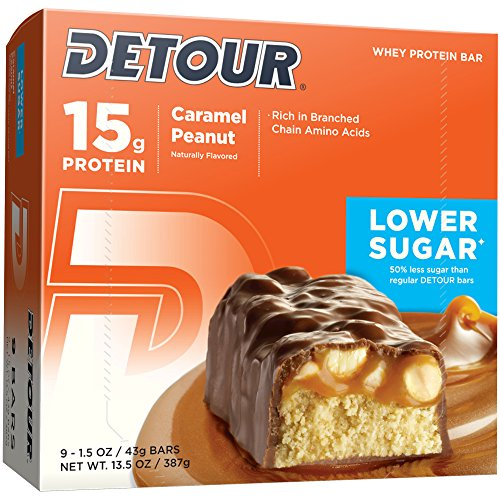 Detour Lower Sugar Whey Protein Bar, Caramel Peanut, 1.5 Ounce (Pack of 9)
