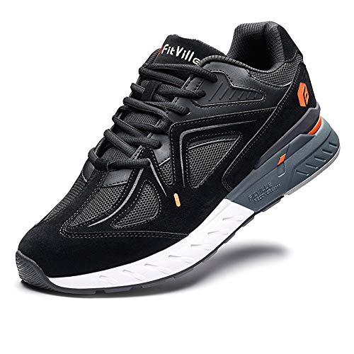 FitVille Extra Wide Walking Shoes for Men Wide Width Sneakers for Flat Foot Plantar Fasciitis Arch Fit Heel Pain Relief - Rebound Core Black