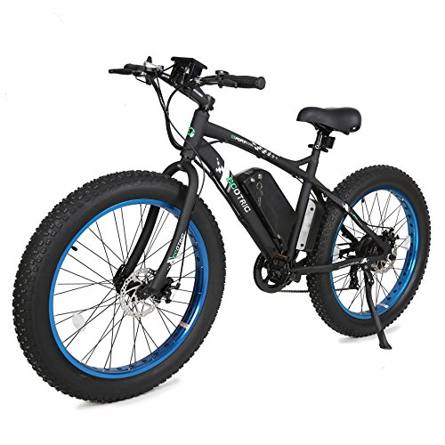 ECOTRIC Fat Tire Electric Bike Beach Snow Bicycle 26' 4.0 inch Fat Tire ebike 500W 36V/12AH Electric Mountain Bicycle with Removable Lithium Battery Black/Orange/Blue (Black/Blue)