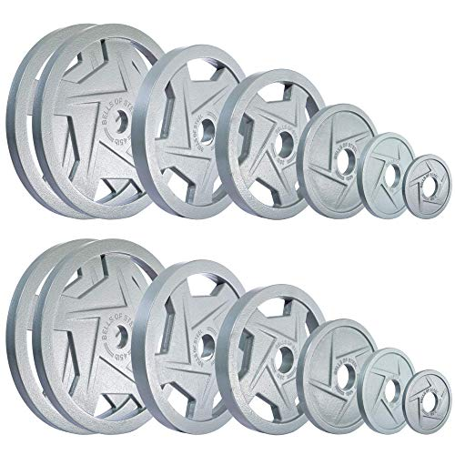 Bells of Steel Mighty Grip Olympic Weight Plates 2.1 335lb Set 2 Each of 2.5-5 - 10-25 - 35 & (4) 45lb
