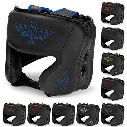 Elite Sports New Item Boxing Head Guard, Sparring Kickboxing, MMA, Muay Thai Headgear Kick Brace Head Protection (Blue)