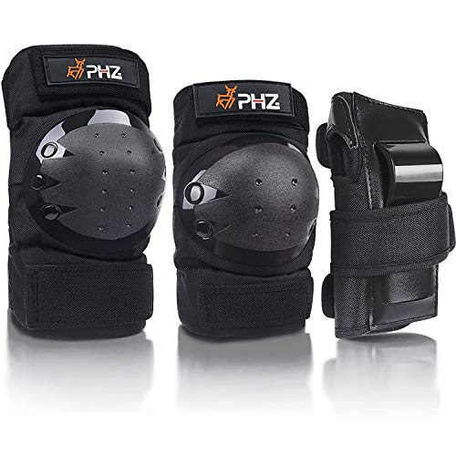 PHZ. Adult/Child Knee Pads Elbow Pads Wrist Guards 3 in 1 Protective Gear Set for Multi Sports Skateboarding Inline Roller Skating Cycling Biking BMX Bicycle Scooter