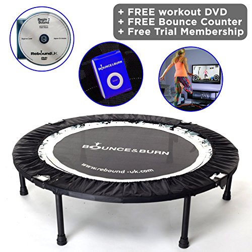 Maximus Life Bounce & Burn Foldable Indoor Mini Trampoline Rebounder for Adults. Fun Way to Lose Weight and get FIT! Includes Rebounding Workout DVD, Video Membership. Optional Handle Bar.