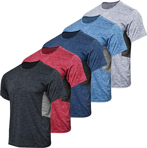 Men's Quick Dry Fit Dri-Fit Short Sleeve Active Wear Training Athletic Essentials Crew T-Shirt Fitness Gym Wicking Tee Workout Casual Sports Running Tennis Exercise Undershirt Top - 5 Pack,Set 6-L