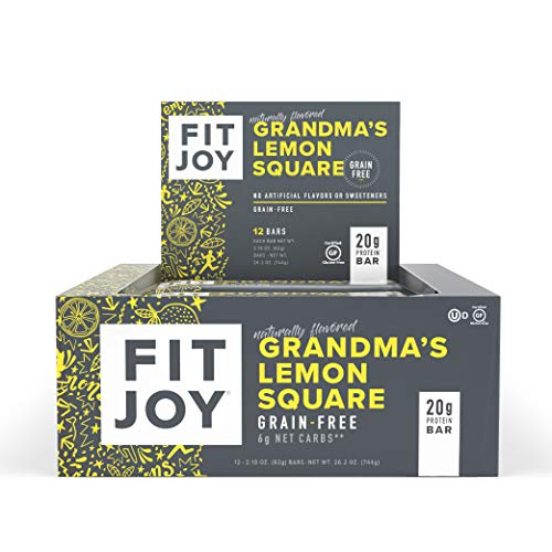 FitJoy Protein Bars, Gluten Free, Grain Free, High Protein Snacks - Low Sugar, Low Carb, 20g Protein Bar – Grandma's Lemon Square, 12 Pack of 2.11 oz. Bars (Packaging May Vary)
