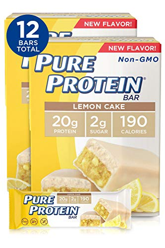 Pure Protein Bars, High Protein, Nutritious Snacks to Support Energy, Low Sugar, Gluten Free, Lemon Cake, 1.76 oz, Pack of 12