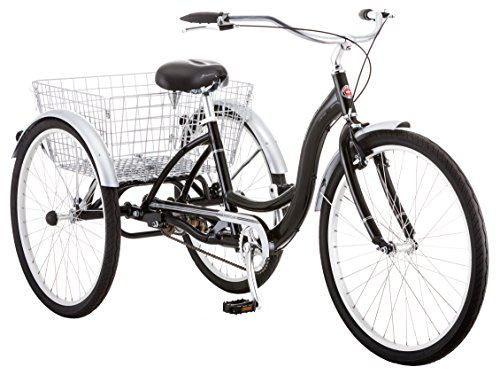 Schwinn Meridian Adult Trike, Three Wheel Cruiser Bike, 1-Speed, 26-Inch Wheels, Black
