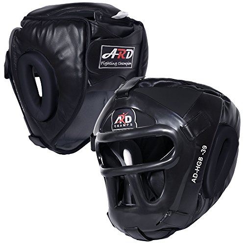 ARD Leather Art MMA Boxing Protector Head Guard UFC Wrestling Helmet Head Gear (Black, Medium)