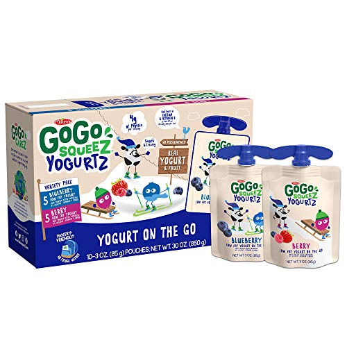 GoGo SqueeZ YogurtZ, Variety Pack (Blueberry/Berry), 3 Ounce (60 Pouches), Low Fat Yogurt, Pantry-friendly, Gluten Free, Recloseable, BPA Free Pouches (Packaging May Vary)