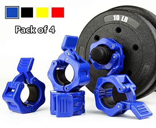 TOFEIC 1 Inch Quick Release Dumbbell Clamps 1'' Standard Barbell ABS Spinlock Weights Bar Plate Lock Collars Clips Great for Women Strongman Gym Crossfit Wrokout Fitness Training Blue 2pair(4pcs)