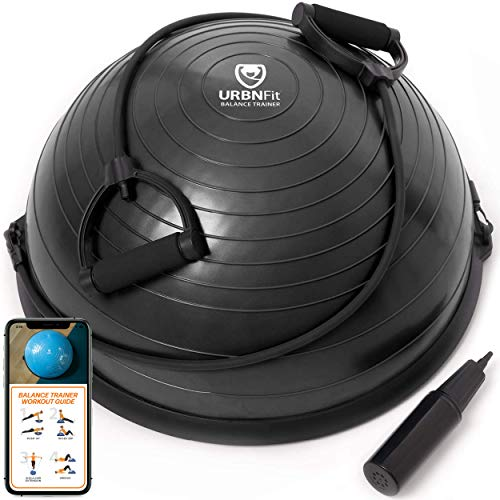 URBNFit Balance Trainer Stability Half Ball with Resistance Bands, Pump and Workout Guide - Improve Core and Ab Strength with Full Body Home Gym Workouts Or Fitness Training