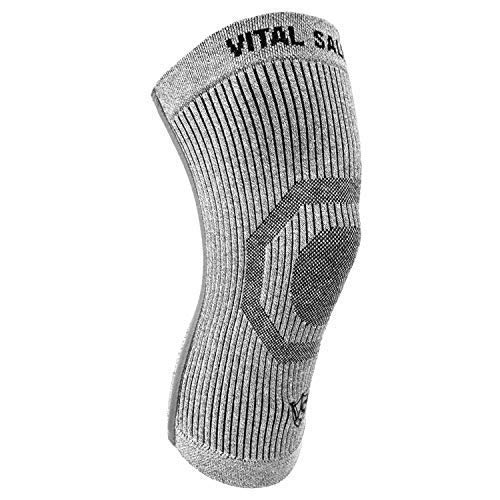 Vital Salveo-Compression Recovery Knee Sleeve/Brace S-Support, Pain Relief, Protects Joint - Ideal for Sports and Daily Wear - Light Grey (1PC) Large