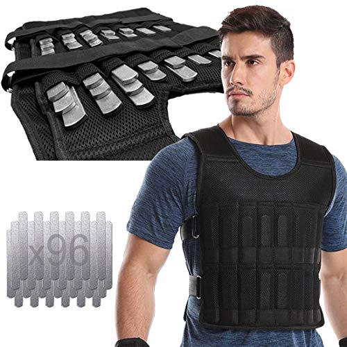 Adjustable Weighted Vest 44LB Fitness Weight Training Workout Boxing Jacket (Including Weight: 96 Plated Steel Plates)