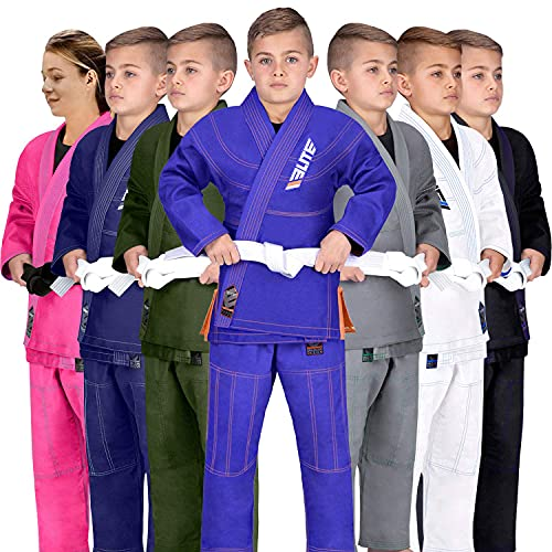 Elite Sports Ibjjf Ultra Light Bjj Brazilian Jiu Jitsu Gi For Kids with Preshrunk Fabric and Free Belt C3, Blue